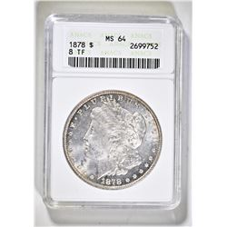 1878 8TF MORGAN DOLLAR ANACS MS-64