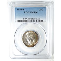 1954-S WASHINGTON QUARTER PCGS MS-66