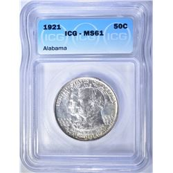 1921 ALABAMA COMMEM HALF DOLLAR  ICG MS-61