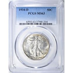 1934-D WALKING LIBERTY HALF DOLLAR  PCGS MS-63