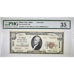 1929 TYPE 2 $10 NATIONAL CURRENCY PMG 35