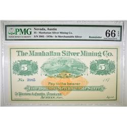 1870'S $5 MANHATTAN SILVER MINING CO.  PMG 66 EPQ