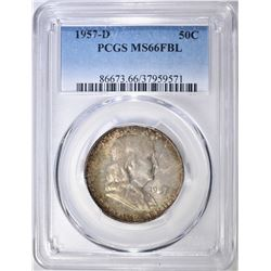 1957-D FRANKLIN HALF DOLLAR  PCGS MS-66 FBL