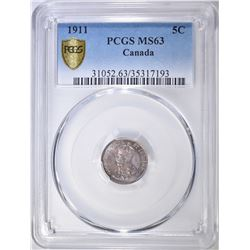 1911 5 CENT CANADA PCGS MS-63 GOLD SHIELD