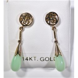 14 KT GOLD EARRINGS GREEN JADE TEAR DROP