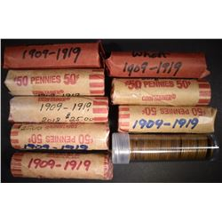 9-ROLLS AVE CIRC LINCOLN CENTS: 1909-19