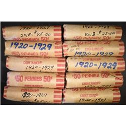 10-ROLLS AVE CIRC LINCOLN CENTS 1920-29