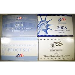 2007, 08, 09 & 10 U.S. PROOF SETS ORIG BOXES/COA