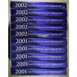 5-2001 & 5-2002 U.S. PROOF SETS IN ORIG PACKAGING