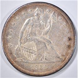 1859-O SEATED DOLLAR  GEM ORIG UNC
