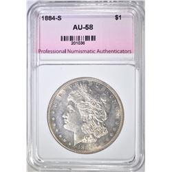 1884-S MORGAN DOLLAR  PNA AU BU
