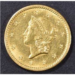 1849 $1 GOLD LIBERTY CH BU CLOSED WREATH
