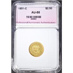 1851-C $2.5 GOLD LIBERTY  PNA AU BU