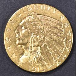 1913 $5 GOLD INDIAN  CH BU