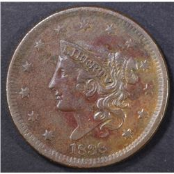1838 LARGE CENT, XF/AU