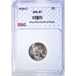 1939-D JEFFERSON NICKEL, RNG SUPERB GEM BU+