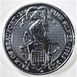 2019 2oz SILVER QUEENS BEAST YALE OF BEAUFORD COIN