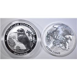 2-ONE OUNCE .999 SILVER COINS