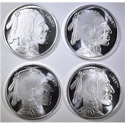 4-ONE OUNCE .999 SILVER ROUNDS INDIAN/BUFFALO