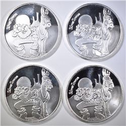 4-ONE OUNCE .999 SILVER ROUNDS, SILVERTOWNE