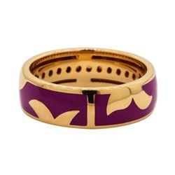 Leo Wittwer 18KT White Gold Ring with Lavender Enamel