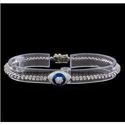 1.46 ctw Diamond Evil Eye Bracelet - 14KT White Gold