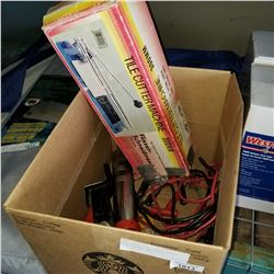 AIR GREASE GUN, JUMPER CABLES, TILE CUTTER, AND HITCH