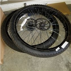 PAIR OF 27.5 ALUMINUM FRONT AND REAR WIDE TRACK MOUNTAIN BIKE WHEELS/TIRES