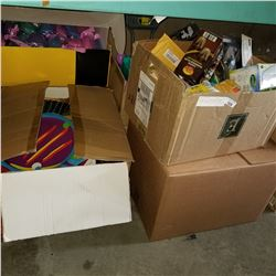 4 BOXES OF DOLLAR STORE ITEMS, PICTURE FRAMES, AND KIDS TOYS