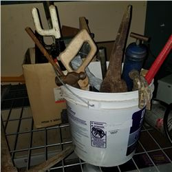 PAIL AND BOX OF TOOLS