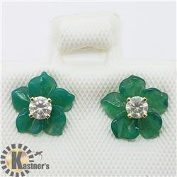 14K DIAMOND GREEN AGATE EARRINGS