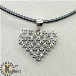 SILVER HEART SHAPED CZ PENDANT W/ CORD NECKLACE