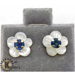10K SAPPHIRE MOTHER OF PEARL EARRINGS