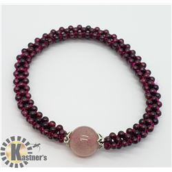 FLEXIBLE GARNET AND ROSE QUARTZ BEAD BRACELET