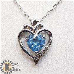 SILVER BLUE TOPAZ PENDANT W/ CHAIN NECKLACE