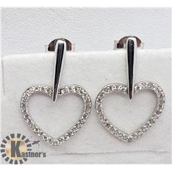 SILVER HEART SHAPED CZ  EARRINGS