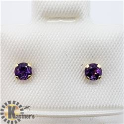 14K AMETHYST SCREWBACK STUD EARRINGS