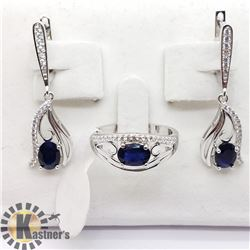 SILVER SAPPHIRE AND CZ RING AND EARRING SET