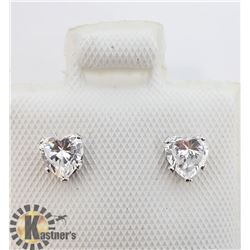 14K HEART SHAPED CZ EARRINGS