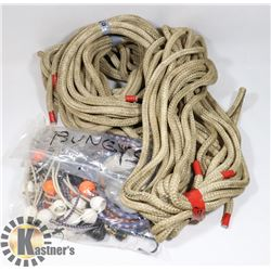 BOX OF MISC INCLUDING NYLON ROPE, TARP BUNGIES,
