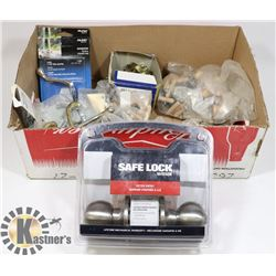 BOX OF DOOR LOCKS: DOREX, WEISER, NAILS AND SCREWS
