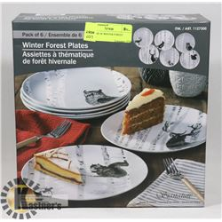 NEW BOX OF WINTER FOREST PLATES