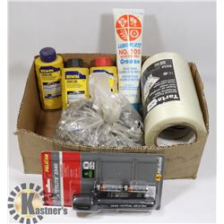 BOX WITH CHALK LINE, TAPE, GREASE, TIN SCREWS AND