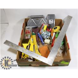 FLAT OF ASSORTED PAINTING ITEMS  AND BBQ BRUSH