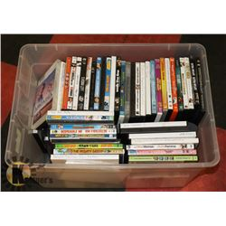TOTE WITH ASSORTED DVDS.