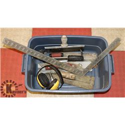 LOT OF ASSORTED DRYWALL TOOLS AND ITEMS