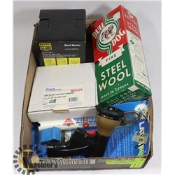 FLAT OF ASSORTED INCL DUST MASKS, STEEL WOOL, AND