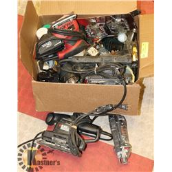 BOX OF ASSORTED POWER TOOLS