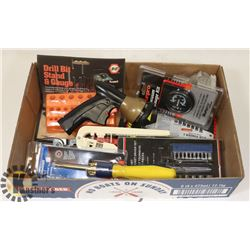 FLAT OF ASSORTED TOOLS AND MORE.