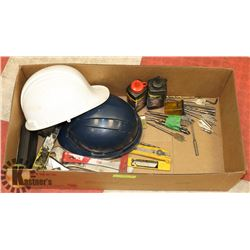 LOT OF ASSORTED INCLUDING- HARD HATS, WOOD CARVING